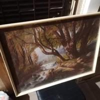 L. De. P szignós erdei táj festmény