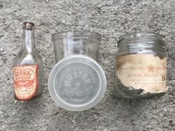 Hármas csomag retró élelmiszeres üvegekből. Sósborszesz, mustár, torma, ecet, palack, kupak, fedeles
