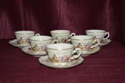 6 db Zsolnay pillangó mintás kávés csésze és 6 db alj  ( DBZ 0090 )