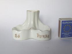 Régi, antik magyar feliratos méhkas jelzésű porcelán sótartó, só és paprika tartó, fogpiszkáló tartó