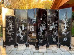 Kínai gyöngyházberakásos, intarziás, festett paraván. 6 elemes. japán, keleti, ázsiai