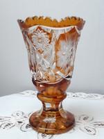 Borostyán sárga - fehér csiszolt ólomkristály talpas kehely váza