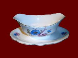 Antik Zsolnay porcelán pajzspecsétes vadvirágos szószos tál