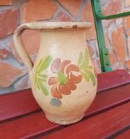 18 cm magas régi virágos  kerámia szilke köcsög korsó nosztalgia, paraszti dekoráció 8