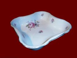 Antik Zsolnay porcelán pajzspecsétes vadvirágos köretes tál