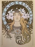 """Alfonz Mucha a szecesszió koronázatlan királya (1860-1939) múzeumi litográfia """"Sarah Bernhard"""""""
