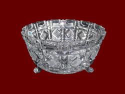 Óriási, nagyon szép, talpakon álló kristály kínáló tál, súlyos darab