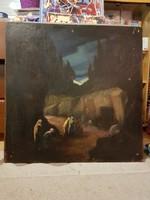 Lisztay József 1931-es festmènye, Jézus sírja, olaj, farost, 70x70 cm