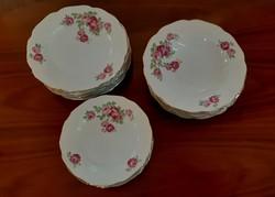 4347 - Nagyon szép rózsás tányérkészlet - 18db