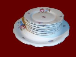 Antik Zsolnay porcelán pajzspecsétes vadvirágos süteményes készlet 6 személyes