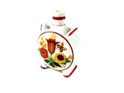 Apró régi Zsolnay kulacs romantikus piros szegélyes virágdíszes