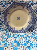 Francia fajansz nyolcszögletű tányér kék mintával
