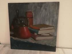 B.J. szignós, csodás csendélet, remekmű!-olajfestmény, aukción, garanciával.