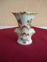 Herendi Viktória mintás fogazott szájú kis váza, 13 cm. Hibátlan!