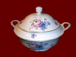 Antik Zsolnay porcelán pajzspecsétes vadvirágos leveses tál