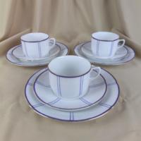 Antik, kék-arany dekoros  3 részes reggeliző porcelán szett, 5 db