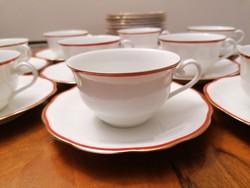 10 személyes, antik Richter, Fenkl és Hahn cseh porcelán teáskeszlet süteményes tányérokkal