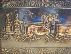 Réz ló lovas lovaskocsi hintó szekér kép veret