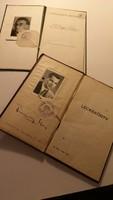 2 db papír régiség: Bizonyítvány 1945, Leckekönyv 1952-1958