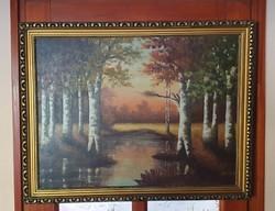 Nagyméretű dekoratív 70x90 cm-es régi olajnyomat, antik kerettel együtt