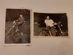 Régi kerékpáros fotó női férfi biciklis fénykép 2 db