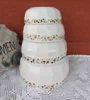 4 db-os Gránit virágos tál  csomag pogácsás nosztalgia darabok paraszti falusi dekoráció vintage