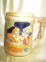 Német színes domborműves kupa korsó kerámia hibátlan