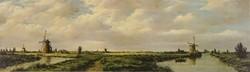 1D424 Szélmalmok Kinderdijkben keretezett színes nyomat 22 x 56 cm