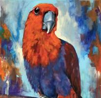 Pityuka vagyok - akrilfestmény (madár, papagáj, portré)