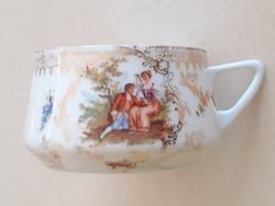 Régi porcelán csésze szecessziós jelenetes aranyozott virágos