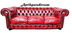 A221 Gyönyörű chesterfield antik burgundi színű bőr kanapé