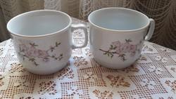 Zsolnay, rózsaszín barackvirágos bögre, 2db