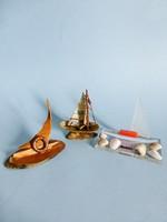 Ritka retro,vintage Balatonos vitorlás hajók,plexi,fa és kagyló