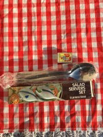 Retro 6 darabos szett - 3 kanál - 3 villa - Nagyméretű óriás saláta villa - salátás - tálaló szett