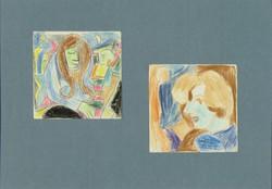 Németh Miklós : 2 db színes ceruza vázlat