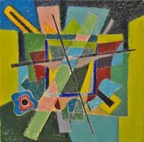 MODERN festmény, olaj vászon, 30 x 30 cm