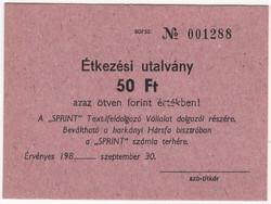 SPRINT étkezési utalvány 50 Forint - 198x