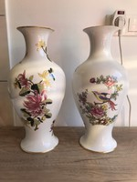Hollóházi porcelán ritka paradicsommadaras váza 31 cm virágos váza