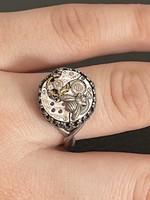 Ezüst Longines rubin  gyűrű 19mm belső átmérőjű állítható méret