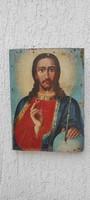 Jézus Krisztus festmény,ikon fàra festett Antik darab