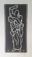 FARKASHÁZY: Jaj, avagy lamentáció (1947, linómetszet 29,5x14 cm) többalakos grafika, fekete-fehér