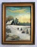 Téli tájat ábrázoló festmény