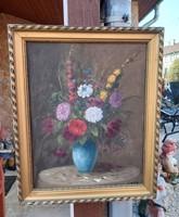 Gyönyörű csendélet festmény  virág csokros  virágos, Nosztalgia darab paraszti dekoráció