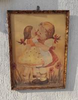 Különleges vízfestmény, akvarell festmény kislàny babàval!