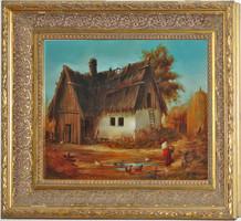P. Molnár József - Tanya - gyönyörű festmény Munkácsy keretben