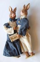 Nagyon aranyos, nagyméretű kerámia húsvéti nyúl pár, nyuszik együtt: húsvéti díszek, dekoráció