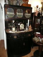 Gyönyörű, antik, szecessziós,márvány lapos,csiszolt üveges tálaló szekrény kb1910 BP SZÁLLÍTÁSSAL*