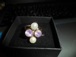 Ezüst gyűrű / ametiszt, gyöngy