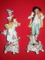 Antik gyönyörű míves német Sitzendorf porcelán barokk figurapár a képek szerint