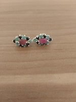 Smaragd zafír rubin fülbevaló beszúrós